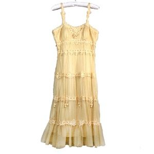 Sue Wong Yellow layered A-line Lace dress size 6